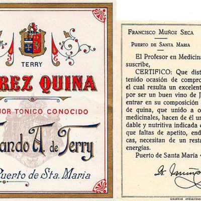 Etiquetado de un vino quinado de Terry con certificado médico firmado por el Dr. Francisco Muñoz Seca en 1906. Todas las imagenes han sido facilitadas por la autora del libro.
