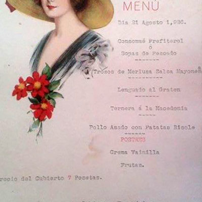 """Menú de 1926 con publicidad de manzanilla """"Mil Pesetas"""" (Vicente Romero Villarreal)."""