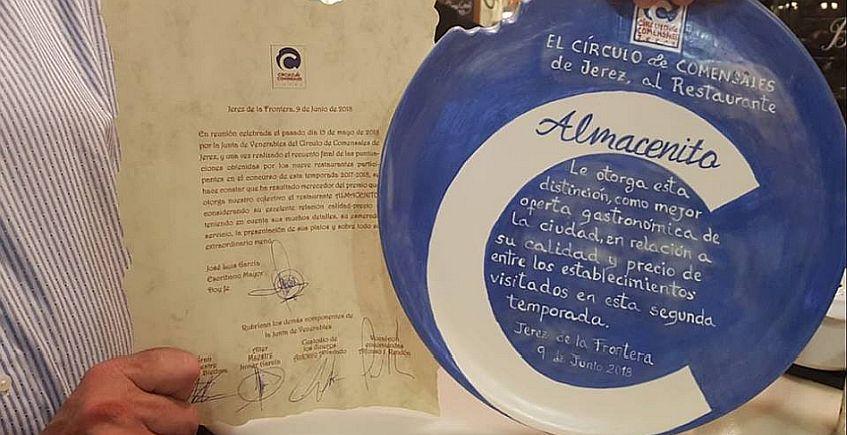 El Almacenito Restaurante consigue el premio de Círculo de Comensales