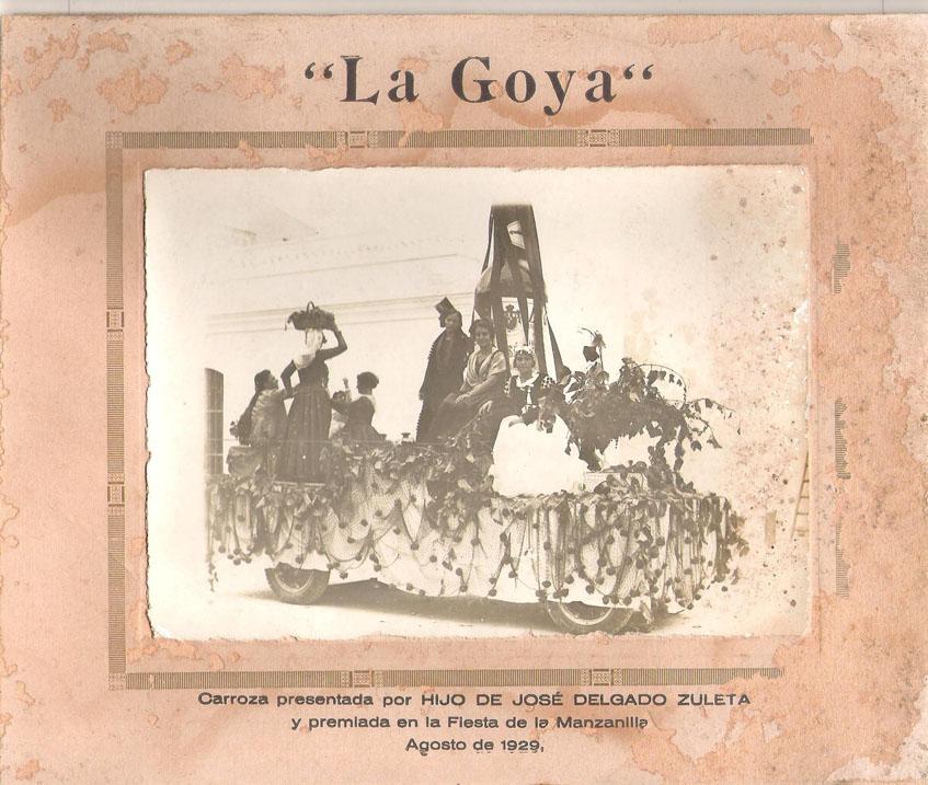 Carroza patrocinada por La Goya en las fiestas de la Vendimia de Sanlúcar de 1929. Foto cedida por Delgado Zuleta