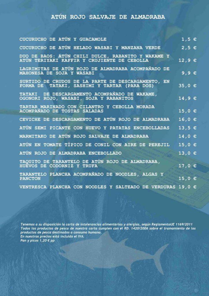 menu atún