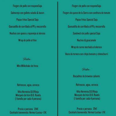 menu coctail
