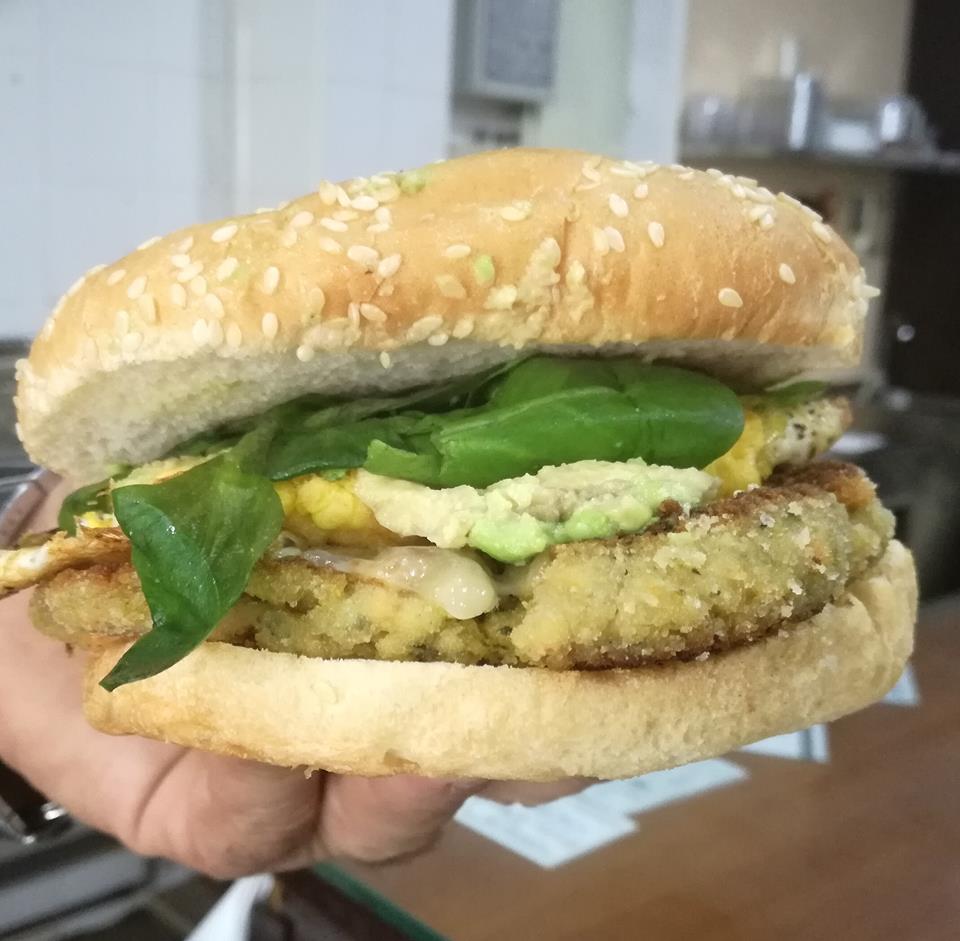 Una hamburguesa vegana.