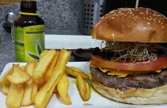 La hamburguesa, lista para comer.