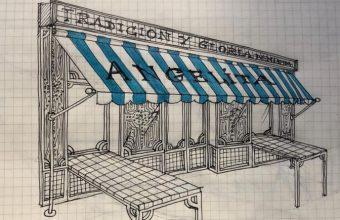 Boceto de Gaspar Sobrino que reproduce como será la fachada de Casa Angelita