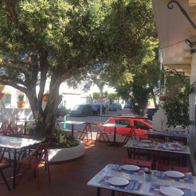 La terraza, presidida por un olivo.