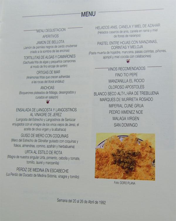 El menú de Los Remos en la Expo del 92.