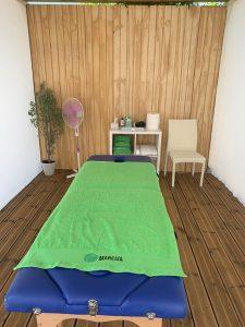 Cabina de masaje en Maresía, en Chipiona.