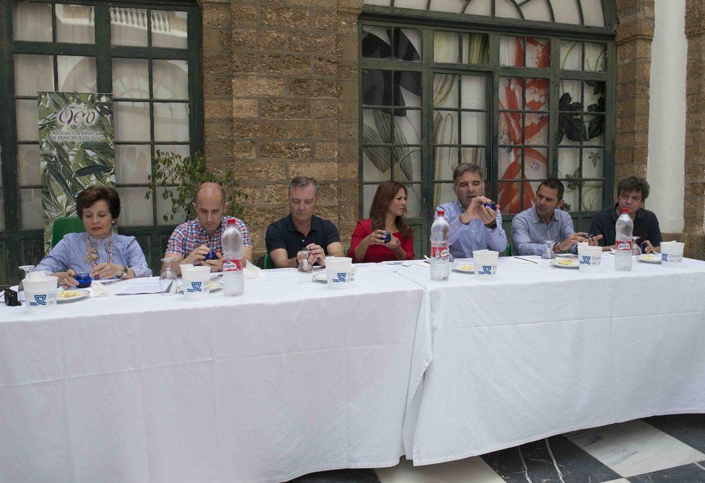 Un momento de la cata que decidió entre ocho aceites. Fotos de Diputación.