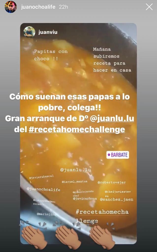 El chef Juanlu Fernández elaboró unas patatas a lo pobre para el reto. Imagen capturada de instagram.